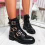 Famma Black Croc Buckle Zip Ankle Boots