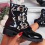 Famma Black Patent Buckle Zip Ankle Boots