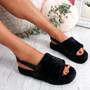 Namma Black Fluffy Sandals