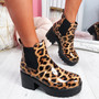 Jukka Leopard Chelsea Chunky Ankle Boots