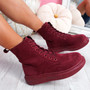 Fya Wine Red Lace Up Ankle Boots