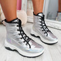 Rezzy Silver Lace  Up Ankle Boots