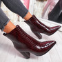 Gory Wine Croc High Block Heel Ankle Boots
