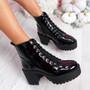 Nudda Black Block Heel Ankle Boots