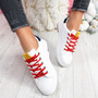 Dibby White Yellow Lace Up Trainers