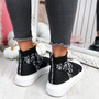 Zenny Black White Flowers Sock Trainers