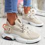 Loppo Beige Knit Chunky Sneakers