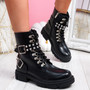 Levo Black Diamante Studded Ankle Boots