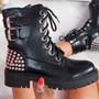 Tevy Black Biker Studded Ankle Boots