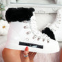Liry White Faux Fur Line Ankle Boots