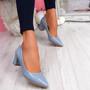 Pressy Blue Croc Block Heel Pumps