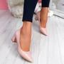 Pressy Pink Croc Block Heel Pumps