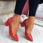 Pressy Red Croc Block Heel Pumps