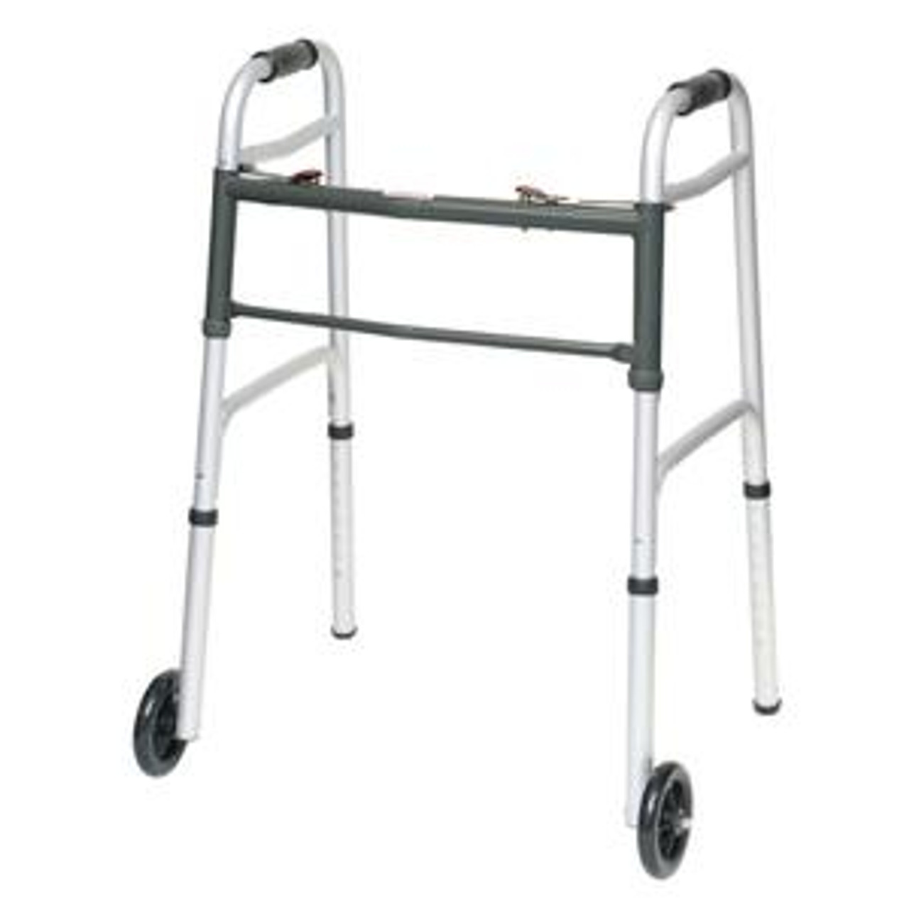 "Two-Button Folding Aluminum Walker, with 5"" Wheels, Adult, 300 lb Capacity"