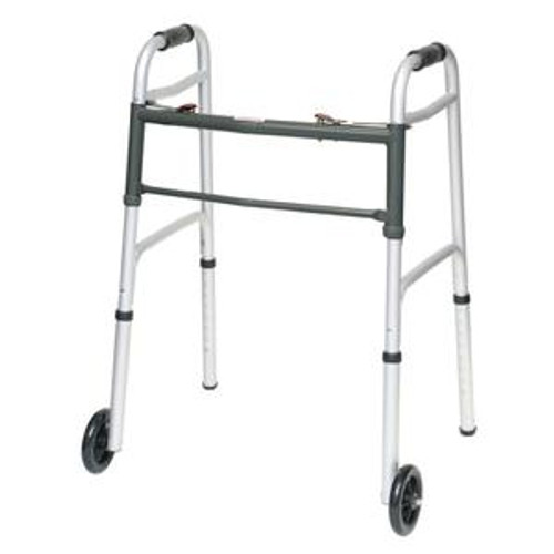 """Two-Button Folding Aluminum Walker, with 5"""" Wheels, Adult, 300 lb Capacity"""