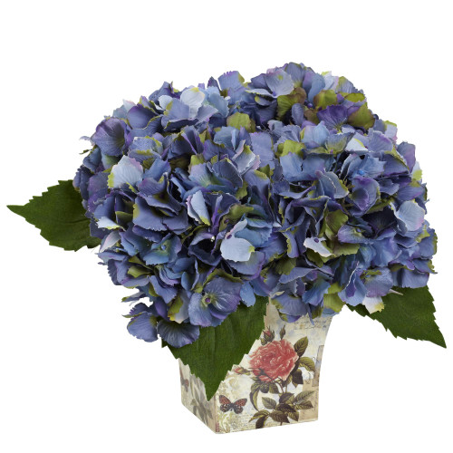 Hydrangea with Floral Planter - 1373-BL