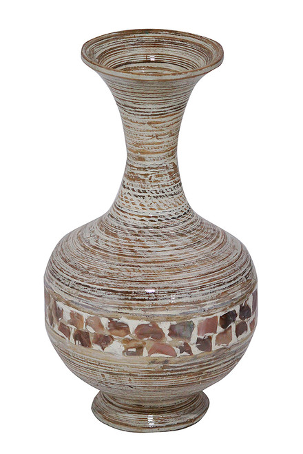 """12"""" X 12"""" X 22"""" Distressed White W/ Coconut Shell Bamboo Spun Bamboo Vase"""