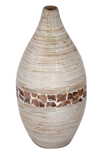 """10"""" X 10"""" X 20"""" Distressed White W/ Coconut Shell Bamboo Spun Bamboo Vase"""