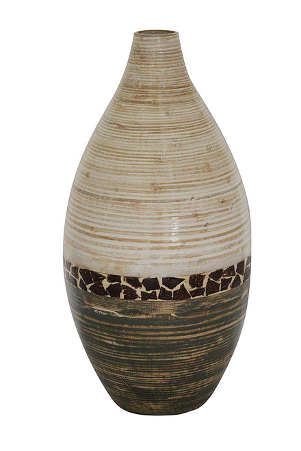 """10"""" X 10"""" X 20"""" White And Gray W/ Coconut Shell Bamboo Spun Bamboo Vase"""