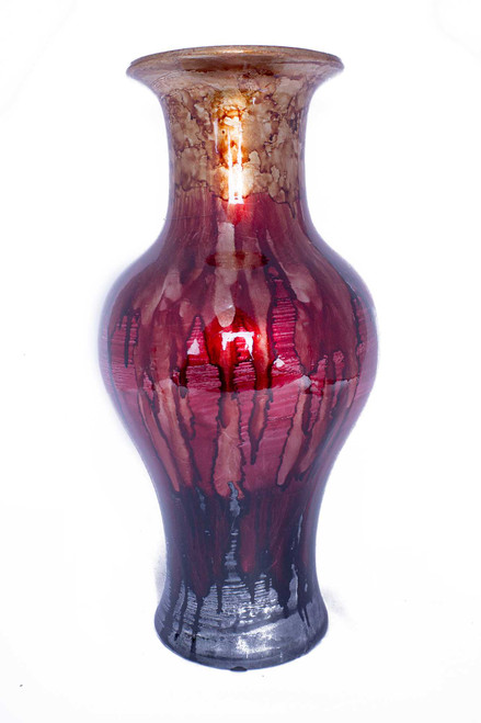 """13"""" X 13"""" X 25"""" Brown, Red And Gray Ceramic Foiled amp; Lacquered Ceramic Vase"""