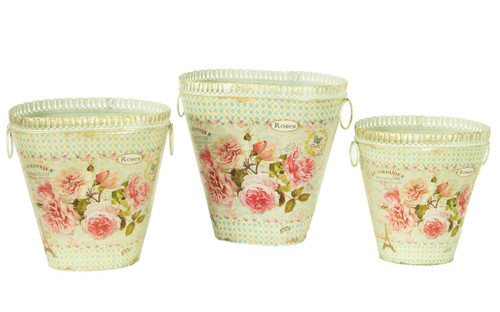 French country planters vintage metal decorative vases & flower pots (set of 3)
