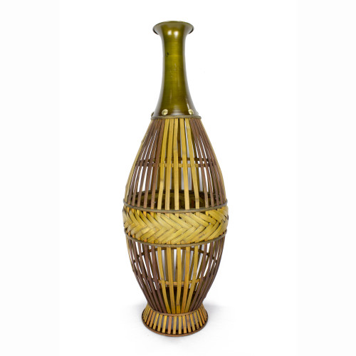 """11'.5"""" X 11'.5"""" X 33'.25"""" Gray w/ Distressed Wood Bamboo, Metal Vase with a Decoaritve Band"""