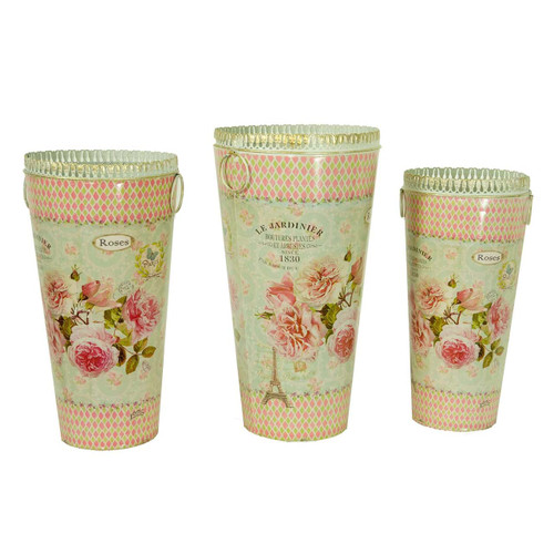 French country planters tall cylinder vintage metal decorative vases & umbrella holder (Set of 3)