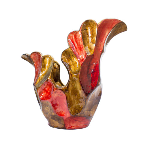 """119"""" X 8"""" X 15'.75"""" Copper, Red, Gold Ceramic Foiled amp; Lacquered Sculpted Vase"""