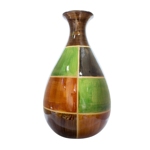 """9"""" X 6'.25"""" X 18'.5"""" Brown, Green, Copper, Gold Ceramic Lacquered Modern Vase"""