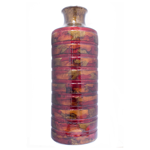 """8'.75"""" X 8'.75"""" X 24"""" Copper, Red, Gold Ceramic Foiled amp; Lacquered Cylinder Vase"""