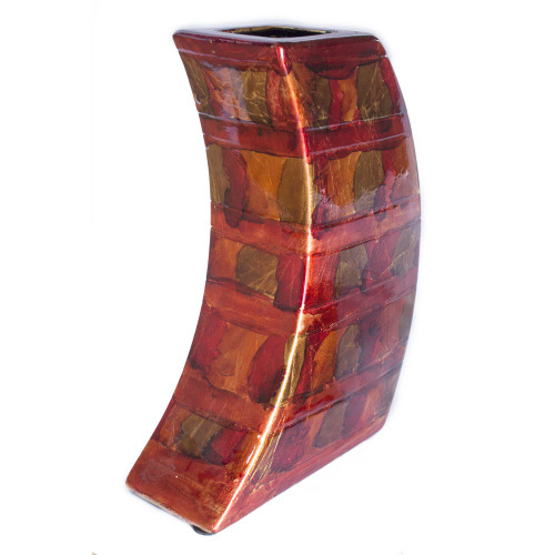 """7"""" X 2'.75"""" X 9'.75"""" Copper, Red, Gold Ceramic Foiled amp; Lacquered Modern Vase"""