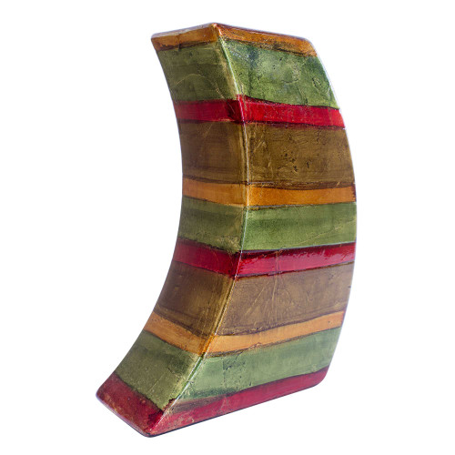 """7"""" X 2'.75"""" X 9'.75"""" Green, Red, Brown, Copper Ceramic Lacquered Striped Modern Vase"""