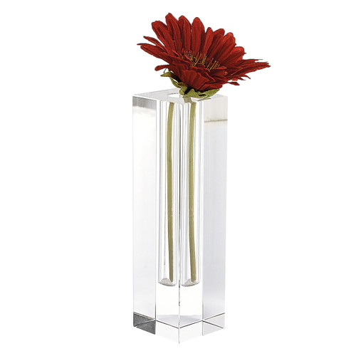 """9"""" Hand Crafted Crystal Square Optical Bud Vase"""