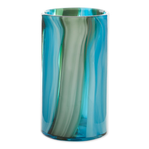 Blue and mossy green glass cylinder vase
