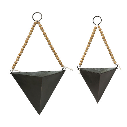 Set of 2 Green Triangle Metal and Wood Wall Planters