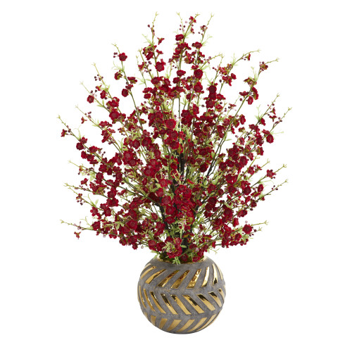 """30"""" Cherry Blossom Artificial Arrangement in Stoneware Vase with Gold Trimming"""