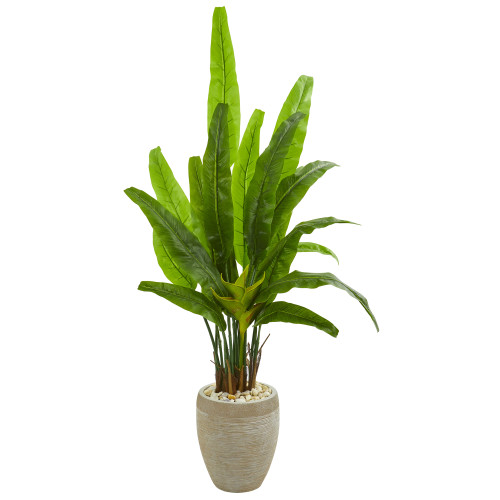 """64"""" Travelers Palm Artificial Tree in Sand Colored Planter"""