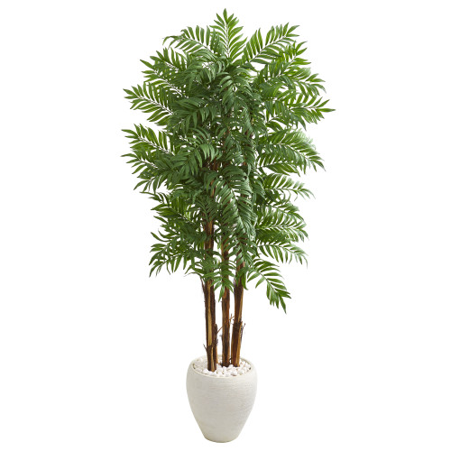 6' Parlour Artificial Palm Tree in White Planter