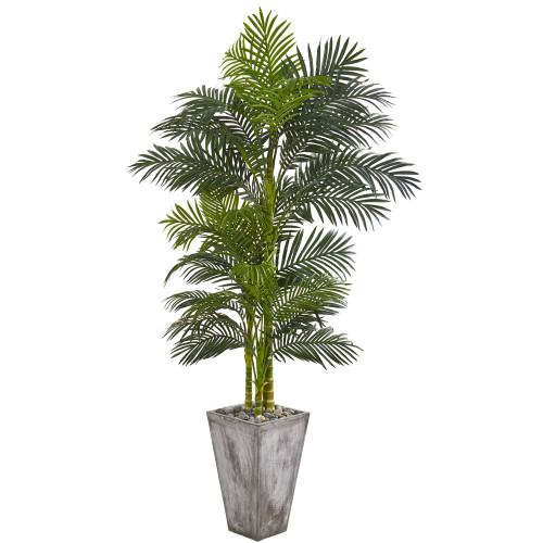 7' Golden Cane Artificial Palm Tree in Cement Planter