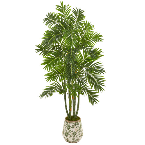 6' Areca Palm Artificial Tree in Vintage Green Floral Planter