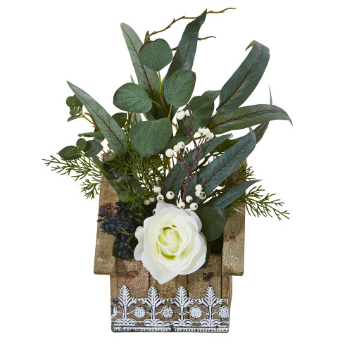 """16"""" Rose and Eucalyptus Artificial Arrangement in Hanging Floral Design House Planter"""