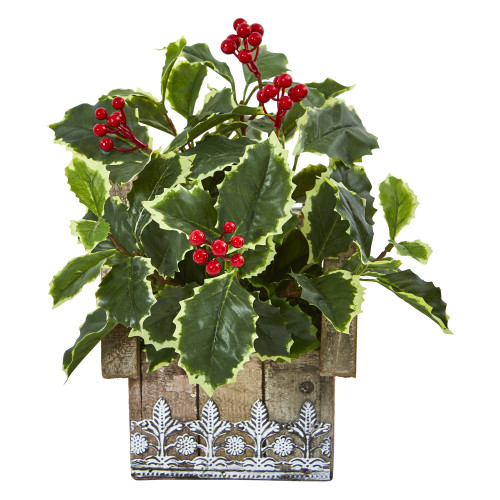 """12"""" Variegated Holly Leaf Artificial Plant in Hanging Floral Design House Planter (Real Touch)"""