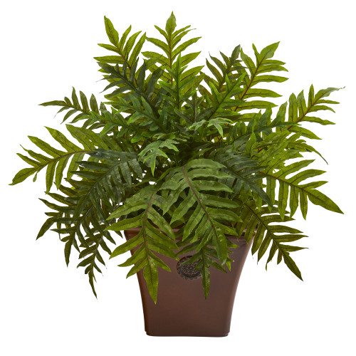 """24"""" Hares Foot Fern Artificial Plant in Brown Planter (Real Touch)"""