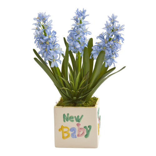 """16"""" Hyacinth and Agave Artificial Plant in """"New Baby"""" Planter"""