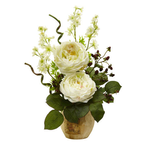 Large Rose and Dancing Daisy in Wooden Pot - 1447-WH