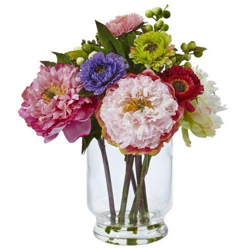 Peony and Mum in Glass Vase - 4586