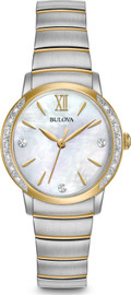 Bulova Diamond Set Bezel with White Mother of Pearl Dial 98R231