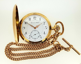IWC pocket watch c.1900, 14ct gold case with 9ct gold chain