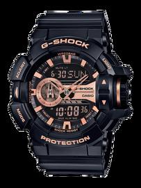 Casio G-Shock Black and Rose-Gold Toned Watch GA-400GB-1A4