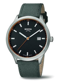 Boccia Titanium Black Dial Watch with Green Textile Strap 3614-01